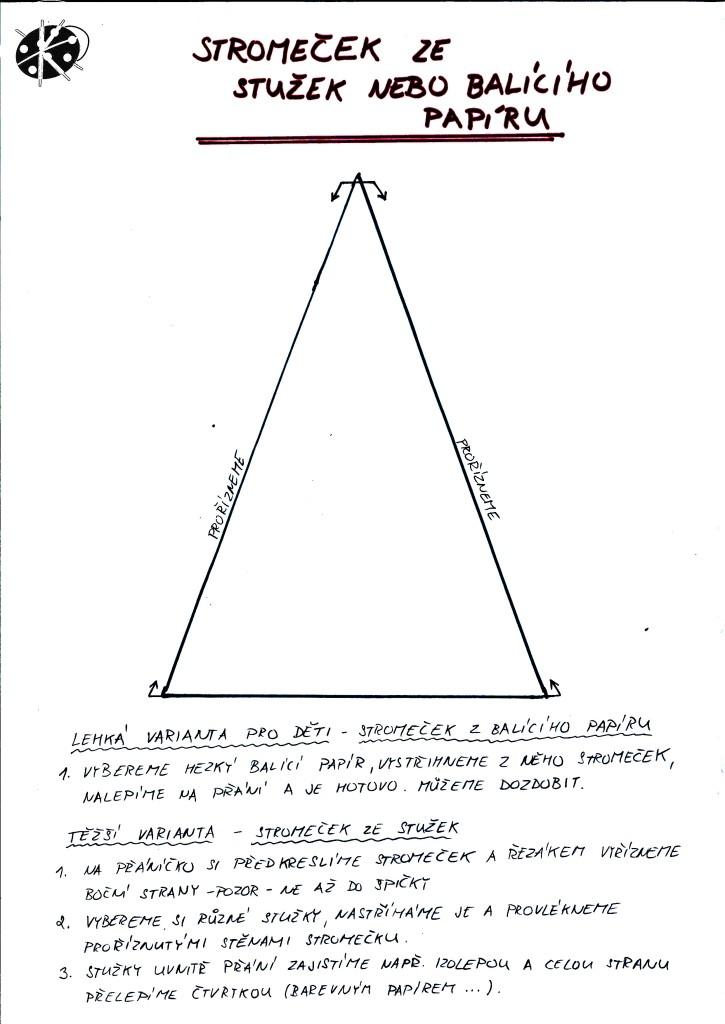 Stromeček ze stužek nebo balicího papíru - navod