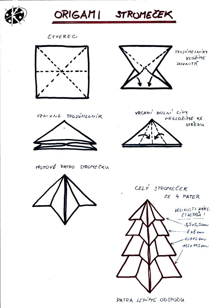 Návod na vánoční přáníčko s origami stromečkem